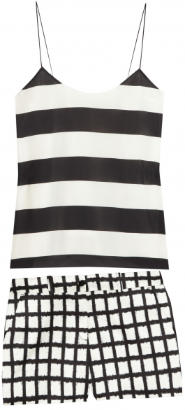 Tibi-Stripe-Crepe-Cami-and-Michael-Kors-Ikat-Print-Shorts