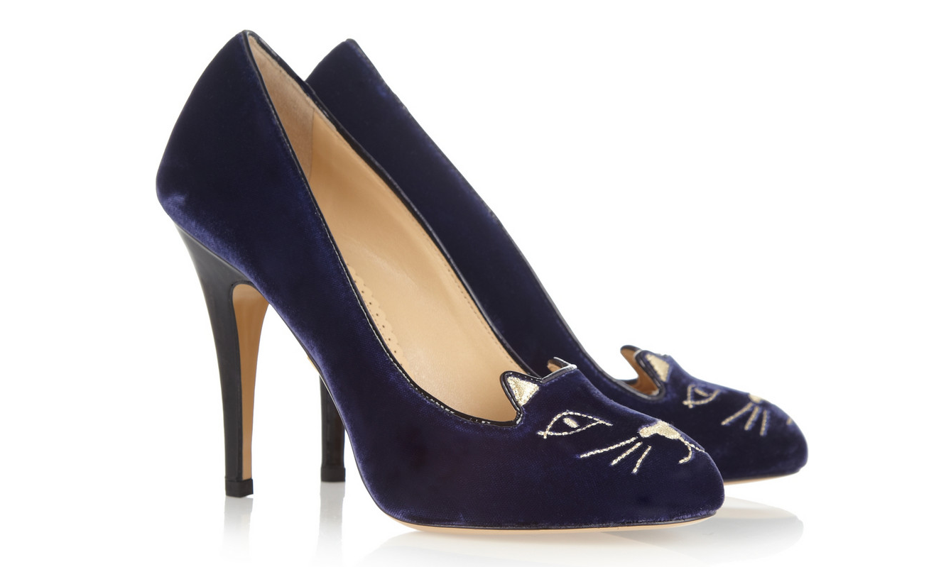 Charlotte-Olympia-Navy-Velvet-Kitty-Pumps