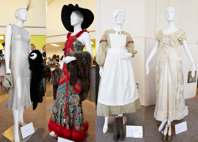 John Galliano Gown (2002), Civil War Wrapper Dress (1860s), and Taft Inauguration Gown (1909)