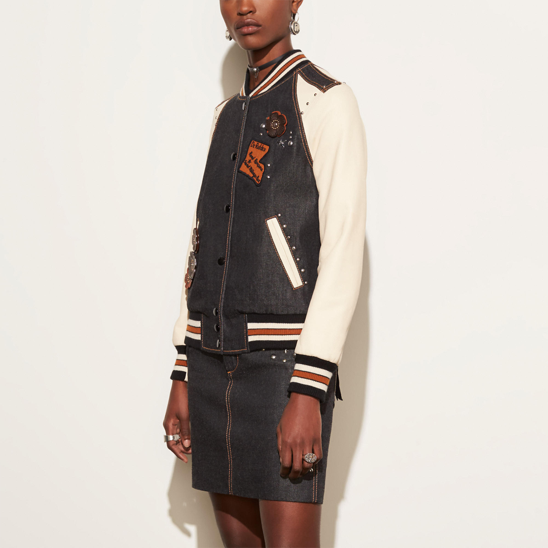 Coach Embellished denim varsity jacket