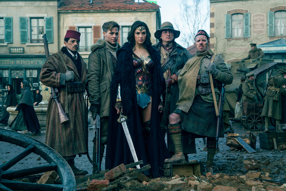 Wonder Woman with her band of soldiers including Saïd Taghmaoui, Chris Pine, Eugene Brave Rock, and Ewen Bremner.