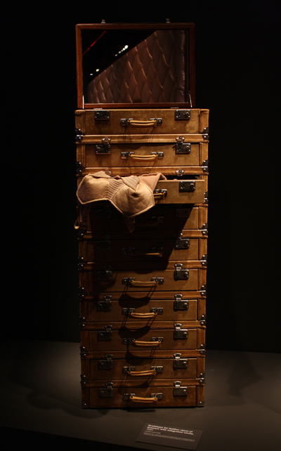 Prototype for Stack of Suitcases; Leather and metal chest of drawers with integrated vanity 1992.