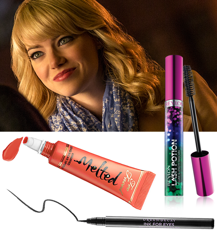 Emma-Stone-The-Amazing-Spider-Man-Gwen-Stacy-Eyeliner-Lipstick-Mascara