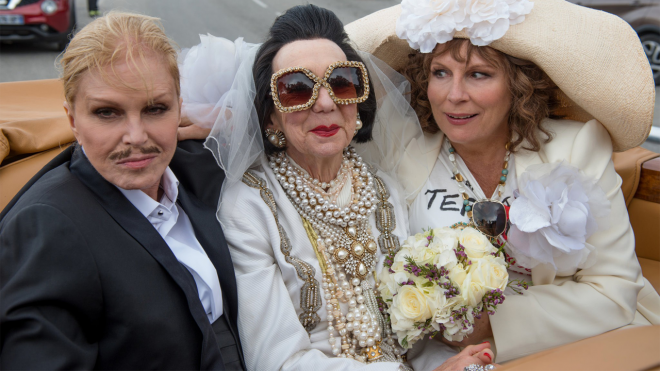 "Marcia Warren (center) in ""Absolutely Fabulous: The Movie"""