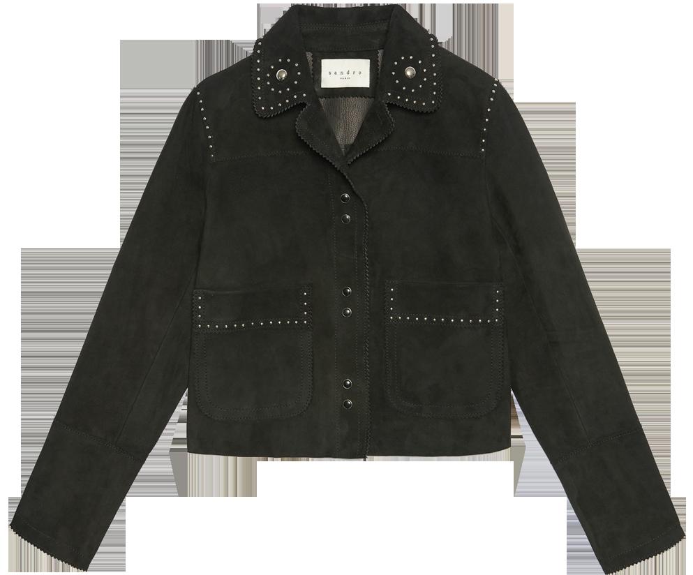 brianne-howey-the-exorcist-sandro-velvet-leather-jacket