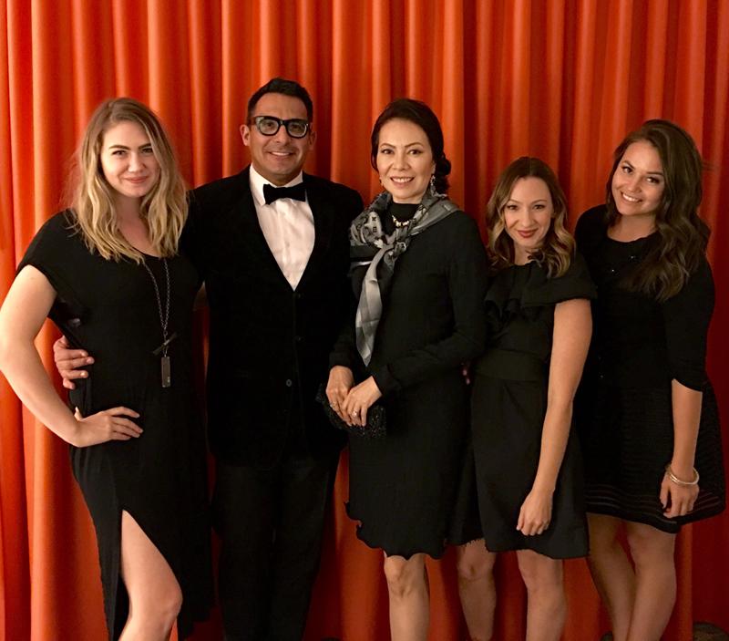 Lindsay Viker, Oscar De Las Salas, Sheila Vertuno, Risa Kostis, and Cynthia Sassi celebrate Chic Spy Day.