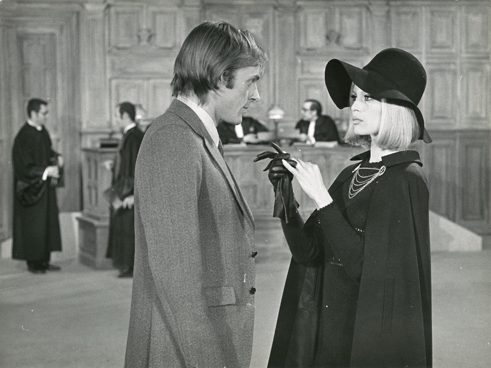 In the movie The Bear and the Doll, 1970. Brigitte's character is a bird-brained, snobbish socialite who becomes infatuated with a grouchy musician, played by Jean-Pierre Cassel. © Cinémathèque française, from Brigitte Bardot: My Life in Fashion (Flammarion, 2016).