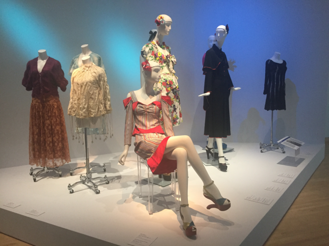 One of the first stations in the exhibition features a Betsey Johnson dress.