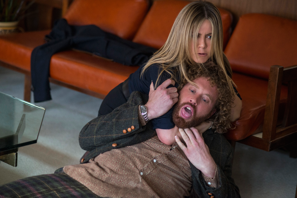 "Jennifer Aniston and T.J. Miller in ""Office Christmas Party."" (Source: Paramount Pictures)"